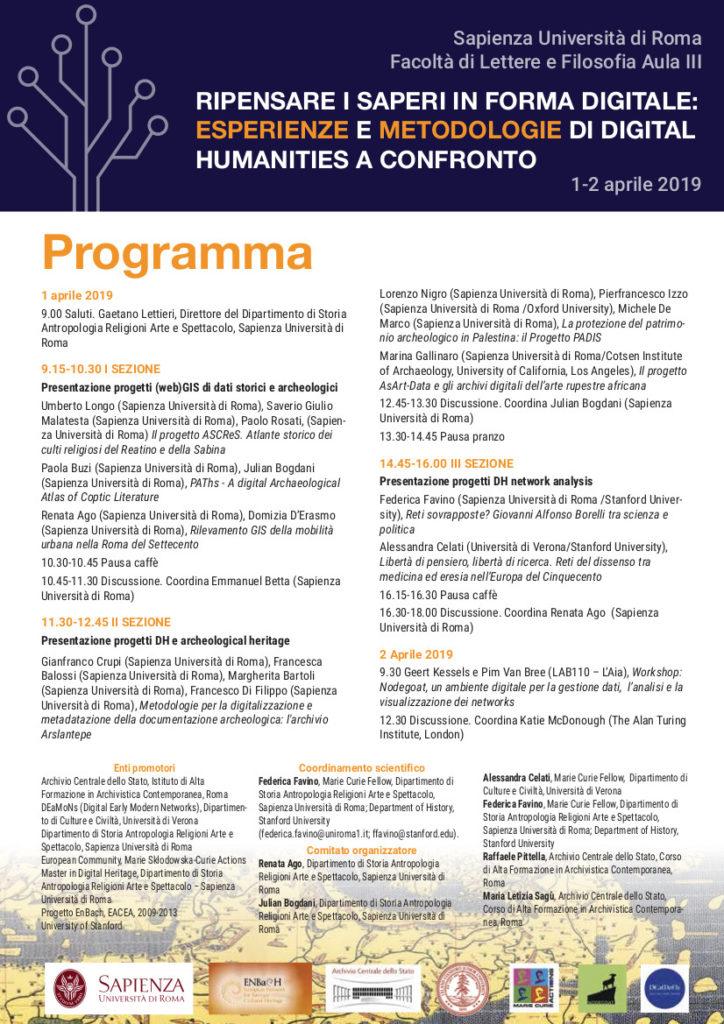 Ripensare i saperi in forma digitale: esperienze e metodologie di digital humanities a confronto 1-2 aprile 2019